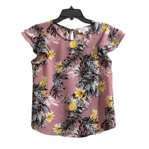 Twine & String Pink Floral Print Boho Top Small
